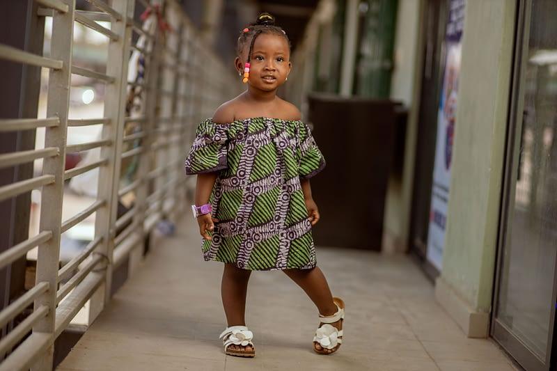 Babyshark African adire batik gown dress-min